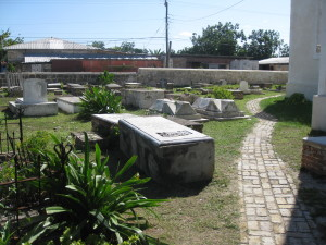 Outside cemetery